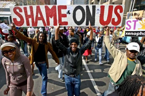 South African protesters: